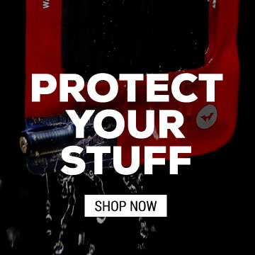 PROTECT YOUR STUFF-BLOOD RED DRY BAGS, WATERPROOF PHONE CASE, WATERPROOF BACKPACK
