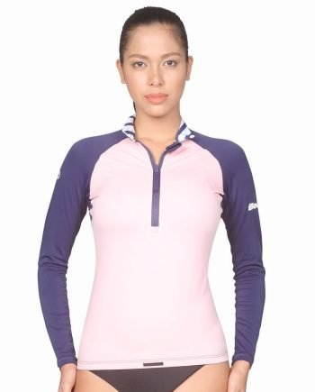 Top quality Womens Half-Zip Rashguard with UV Sun Protection