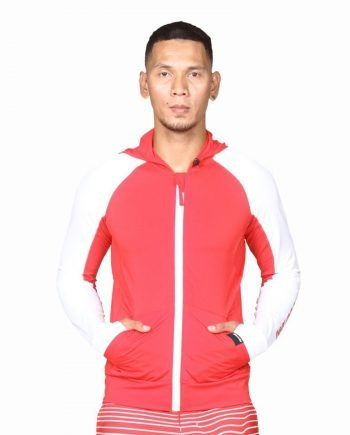 Top quality hooded rash guards on Blood Red's latest collection