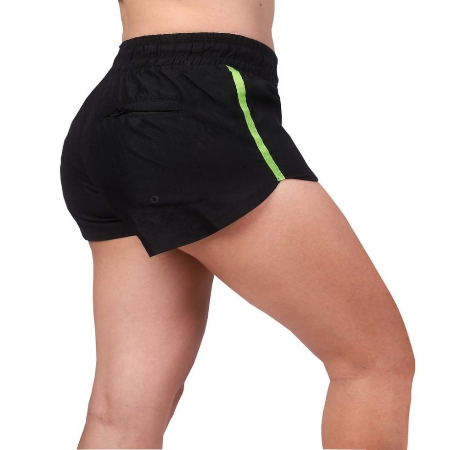 women's black beach shorts with neon stripe