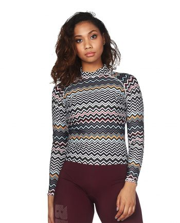 GYPSY LONG SLEEVE HIGH NECK RASH GUARD WITH ZIG ZAG PRINT