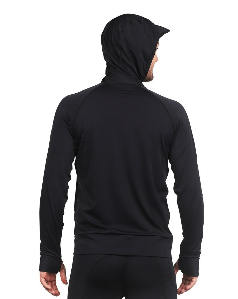 DISDAIN HOODED LONG SLEEVE RASH GUARD WITH ZIP FRONT