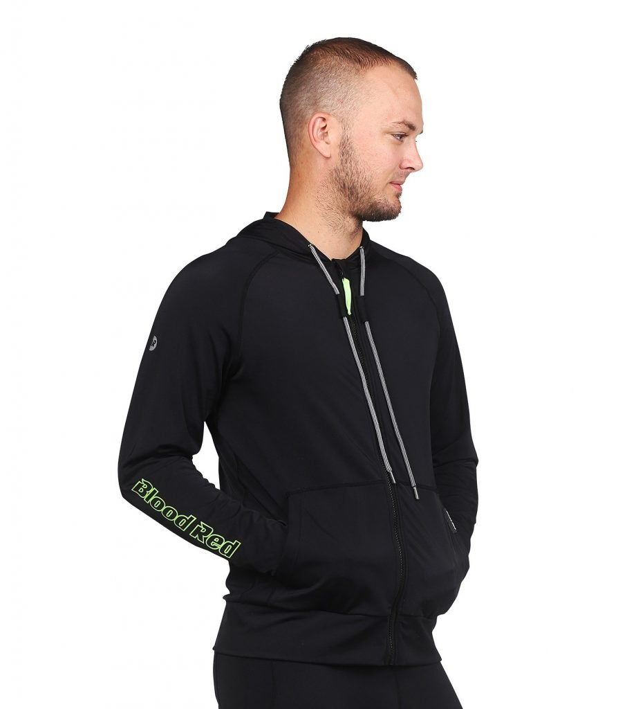Men's HOODED LONG SLEEVE RASH GUARD WITH ZIP FRONT