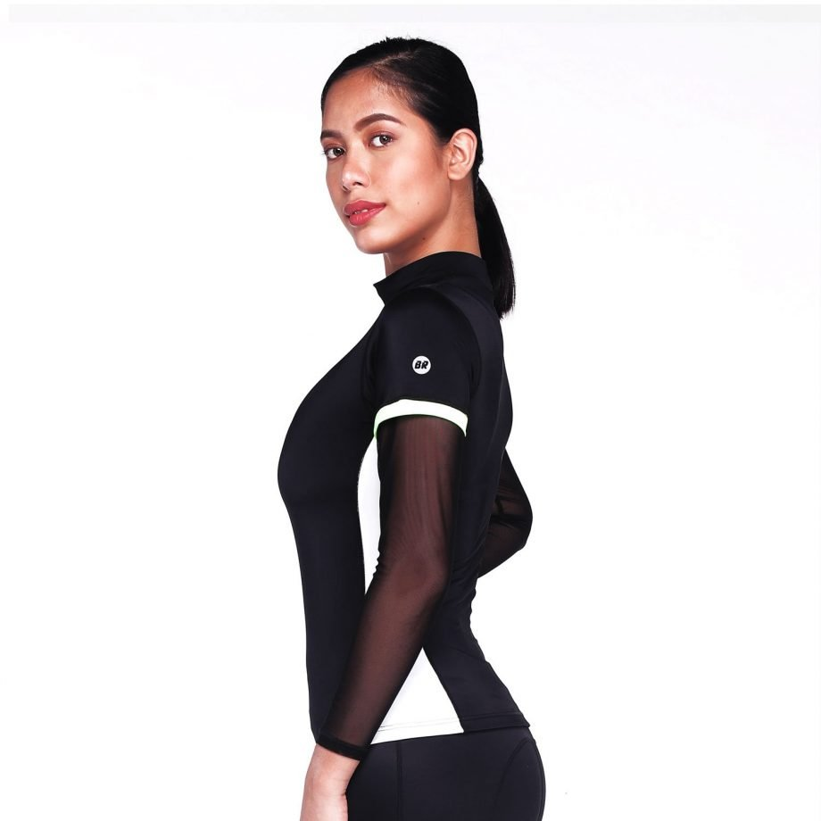 High Neck Black Colour Block Rash Guard Top with White Stripe – Monsoon Left