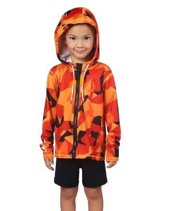 Kid's Orange and Black Camo Hooded Rash Guard - Zone Front