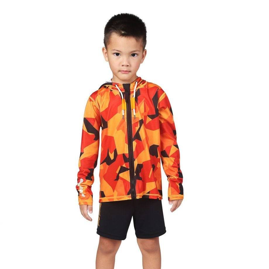 Kids Orange and Black Camo hooded Rash Guard - Zone Front