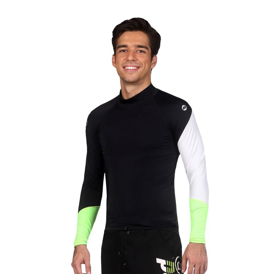 Men's Black High Neck UPF50+ Rash Guard - Spirit Side