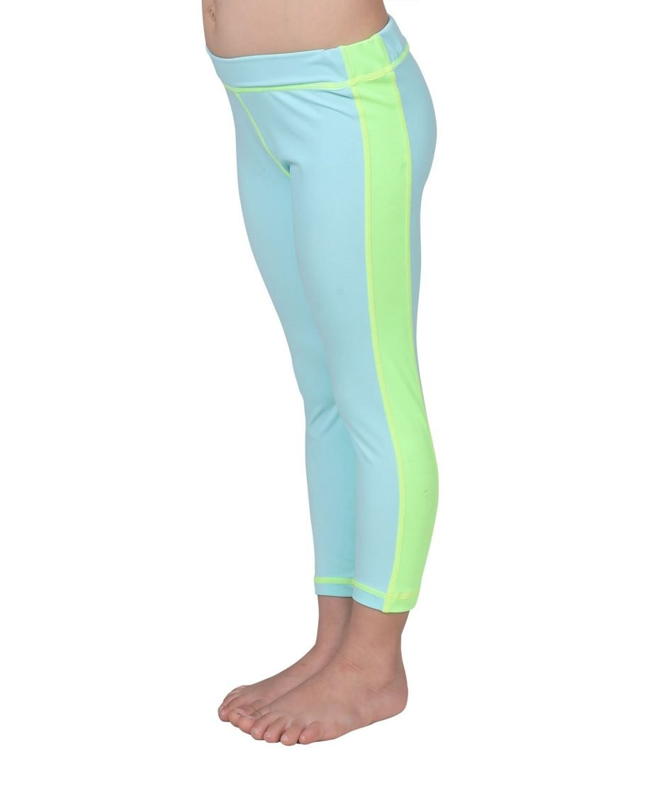 kid's UPF50+ leggings with neon stripe