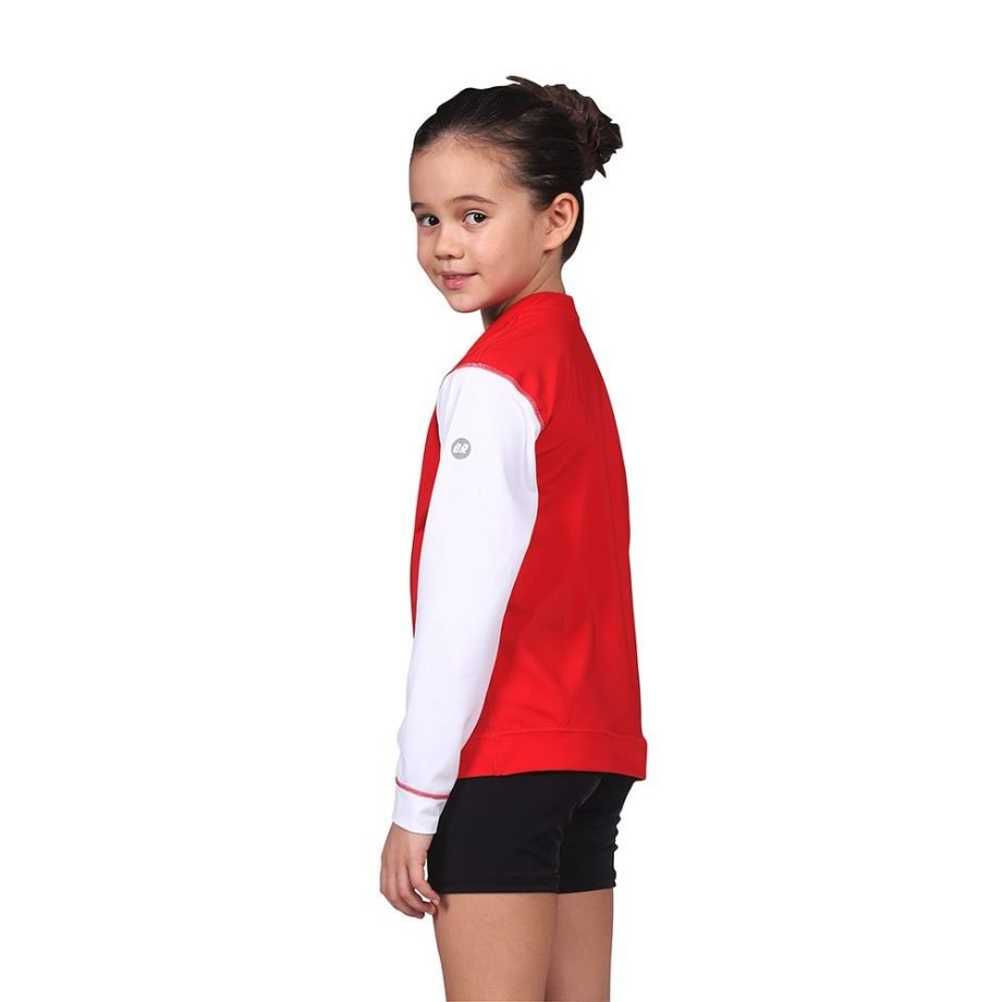 Red & White Long Sleeve Junior Rash Swim Set with Black Shorts