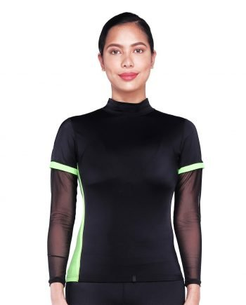 Women's High Neck long sleeve colour block rash guard